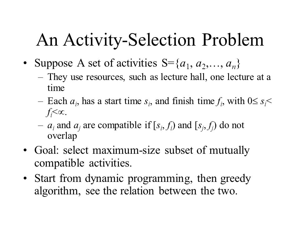 An Activity-Selection Problem