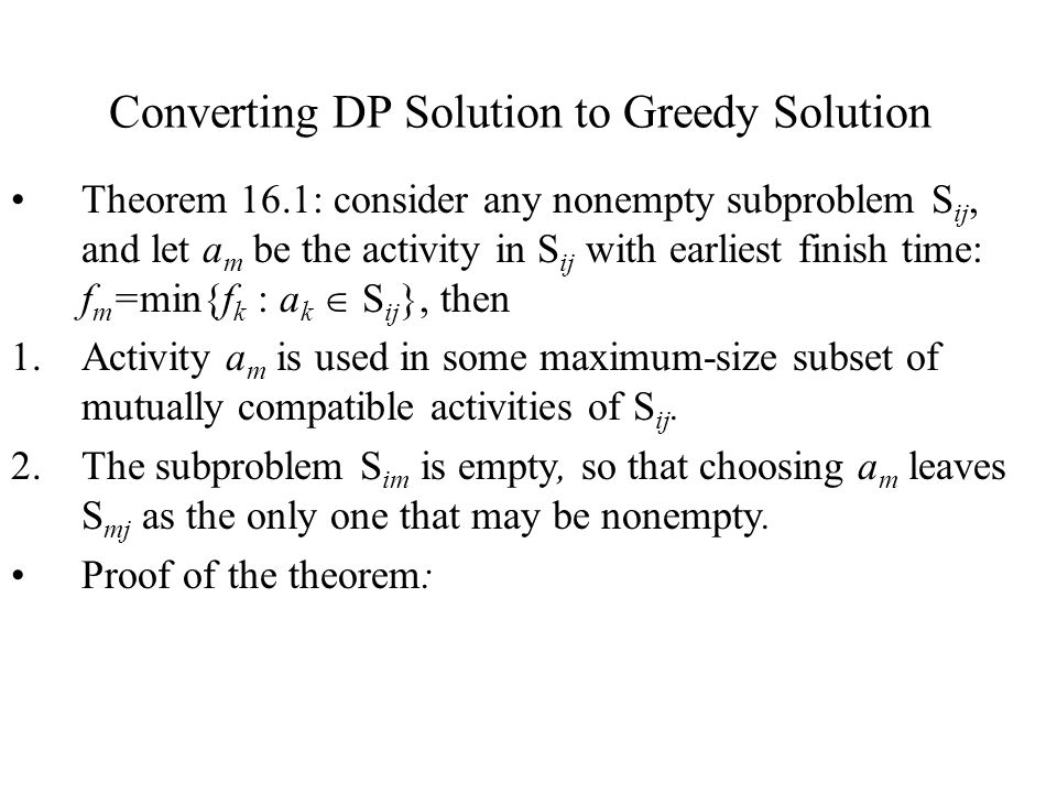 Converting DP Solution to Greedy Solution