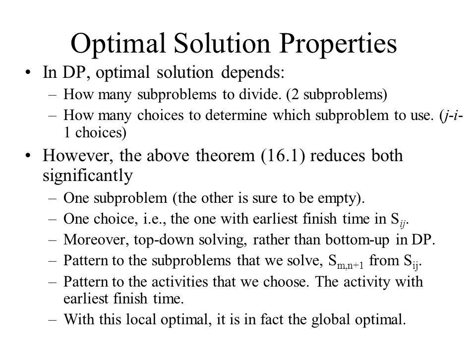 Optimal Solution Properties