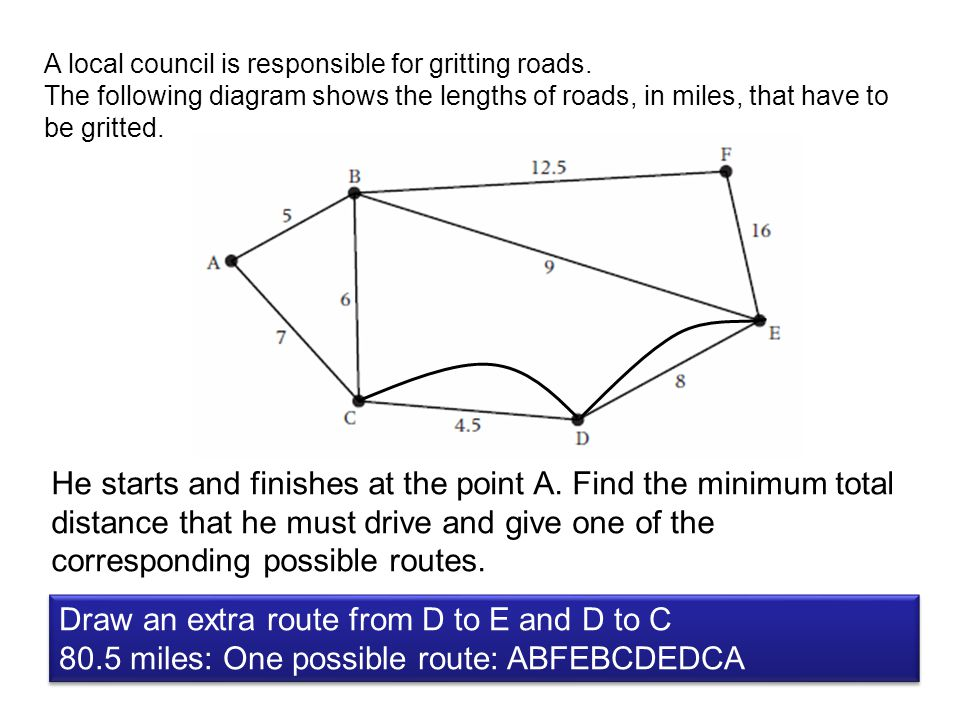 Draw an extra route from D to E and D to C