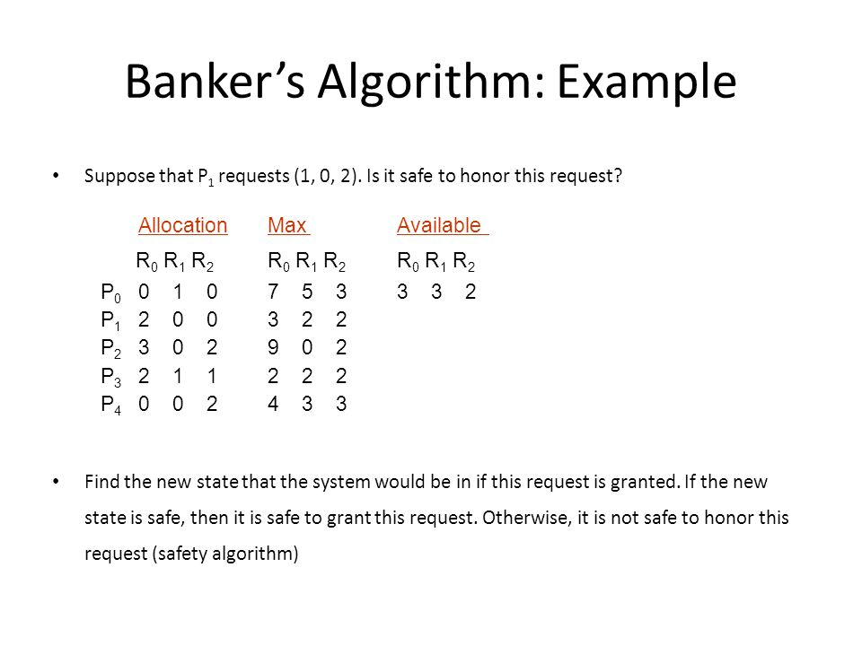 Banker's Algorithm: Example