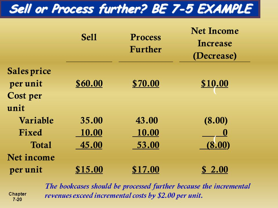 Sell or Process further BE 7-5 EXAMPLE