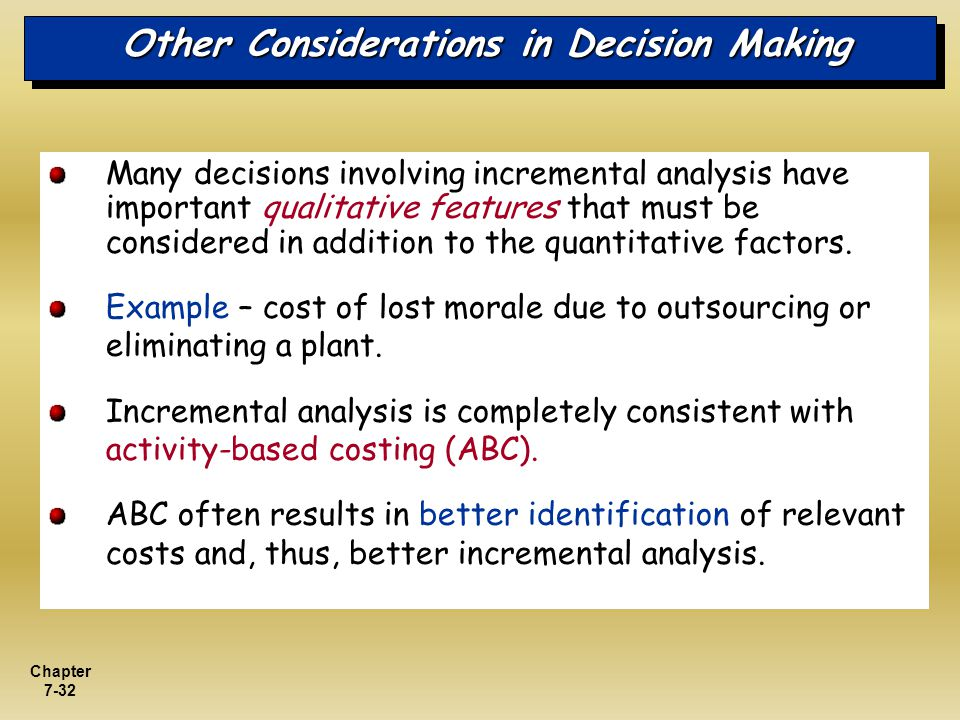 Other Considerations in Decision Making
