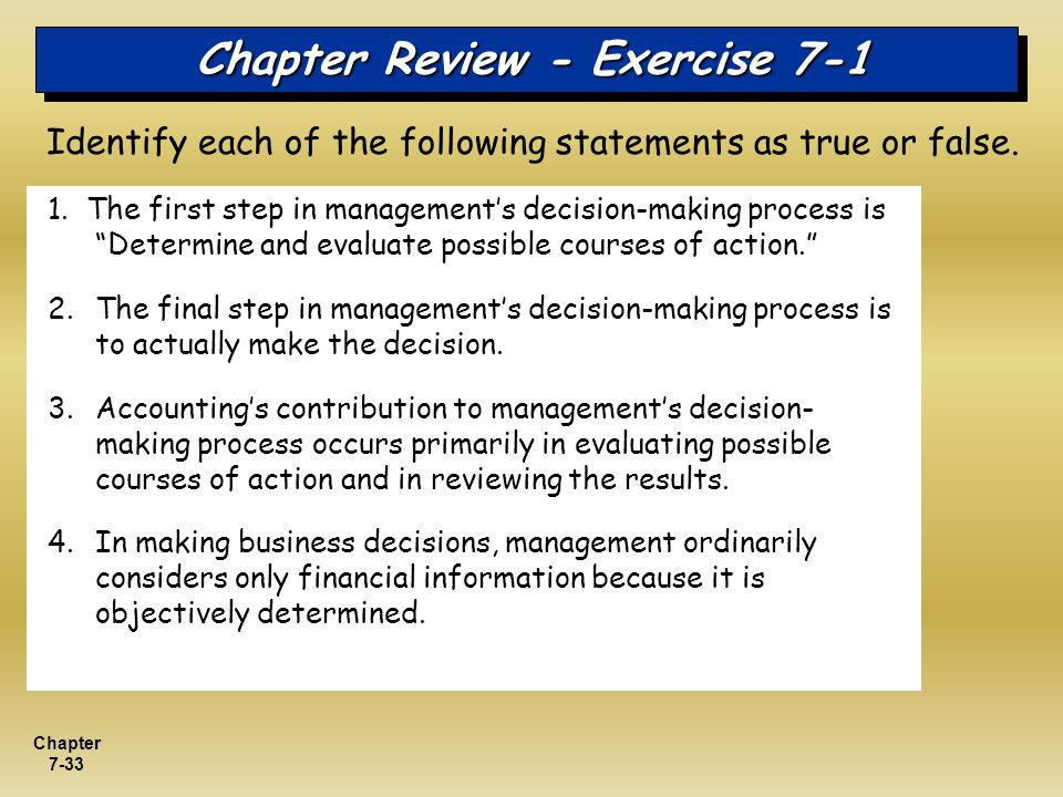 Chapter Review - Exercise 7-1