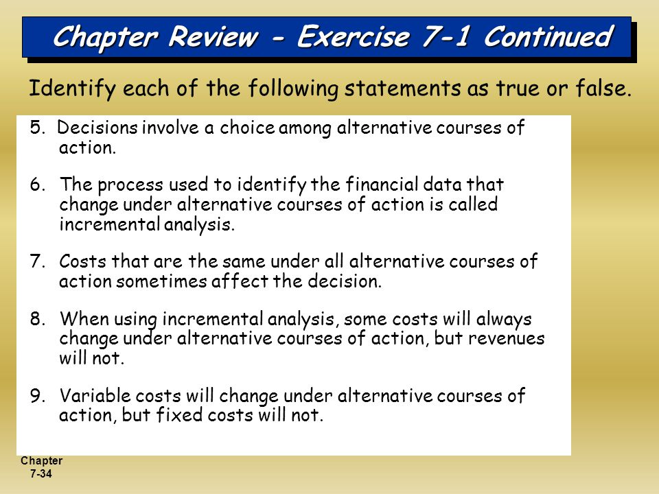 Chapter Review - Exercise 7-1 Continued