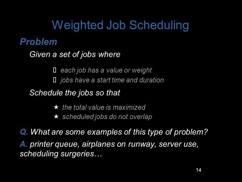 Weighted Job Scheduling