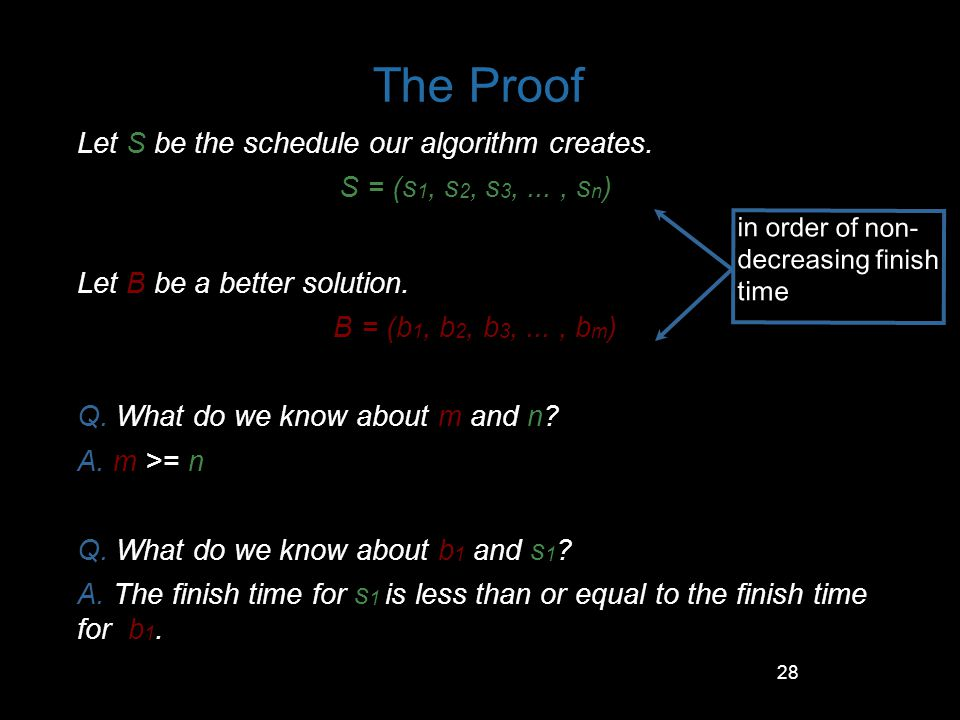 The Proof Let S be the schedule our algorithm creates.