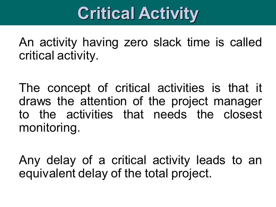 Critical Activity An activity having zero slack time is called critical activity.