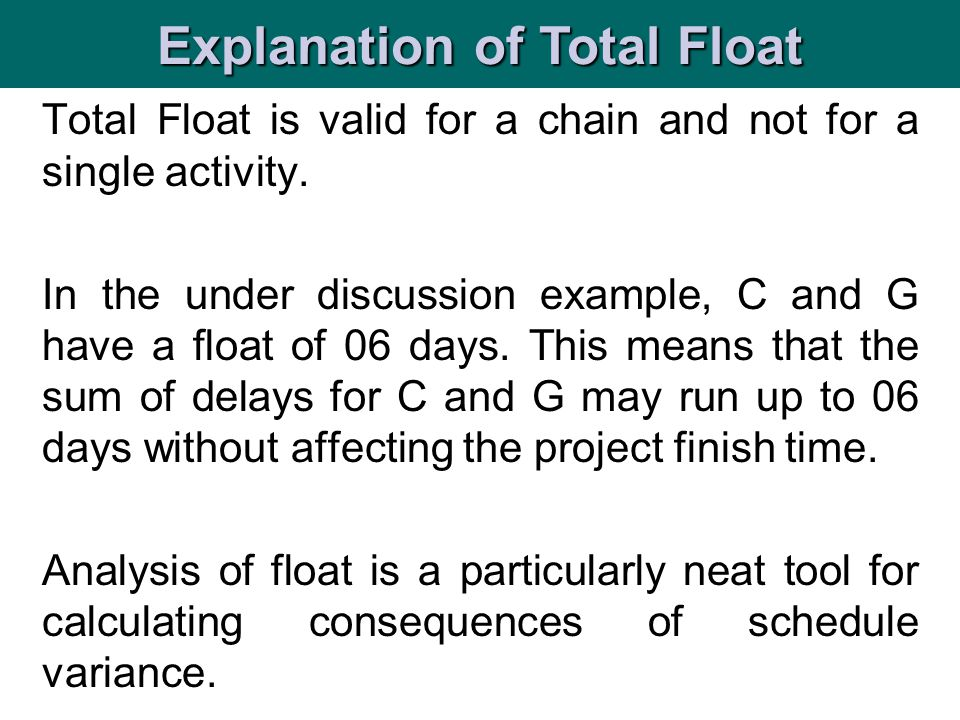 Explanation of Total Float