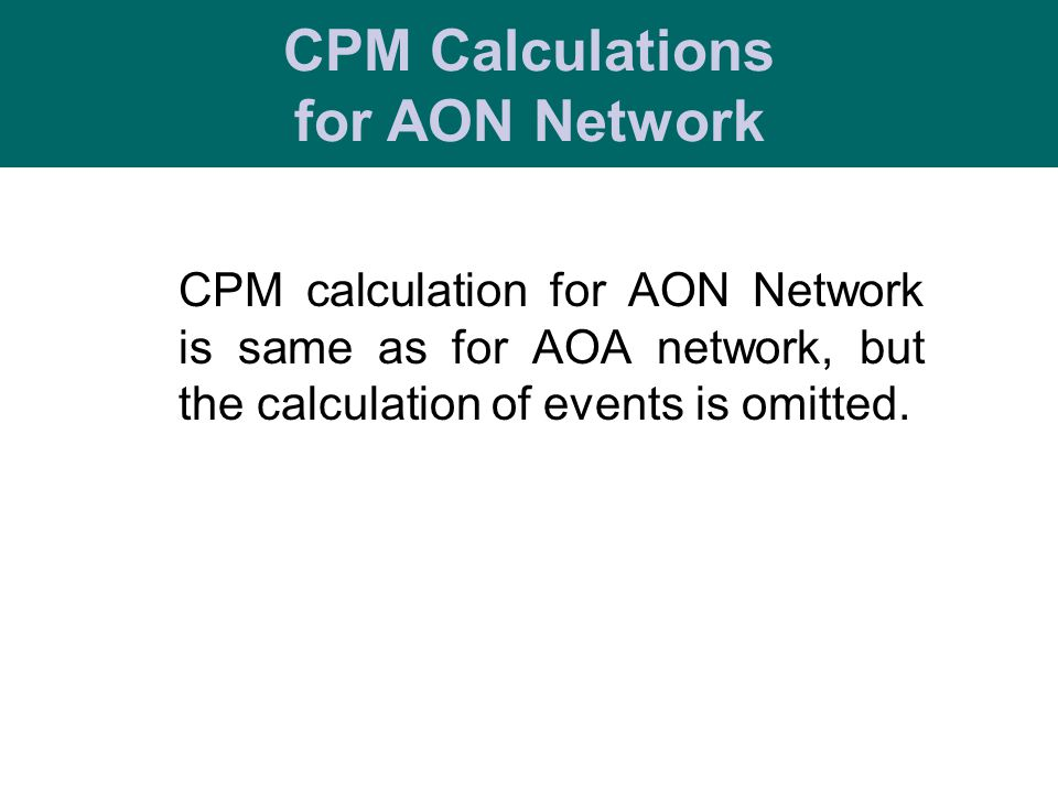 CPM Calculations for AON Network