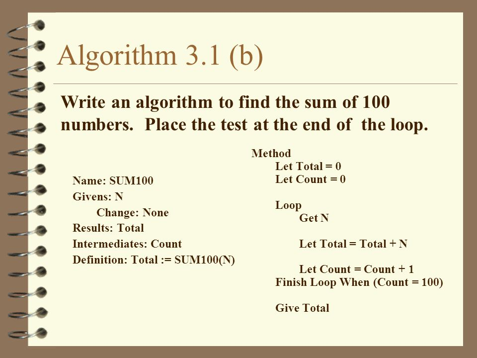 Algorithm 3.1 (b) Write an algorithm to find the sum of 100 numbers. Place the test at the end of the loop.