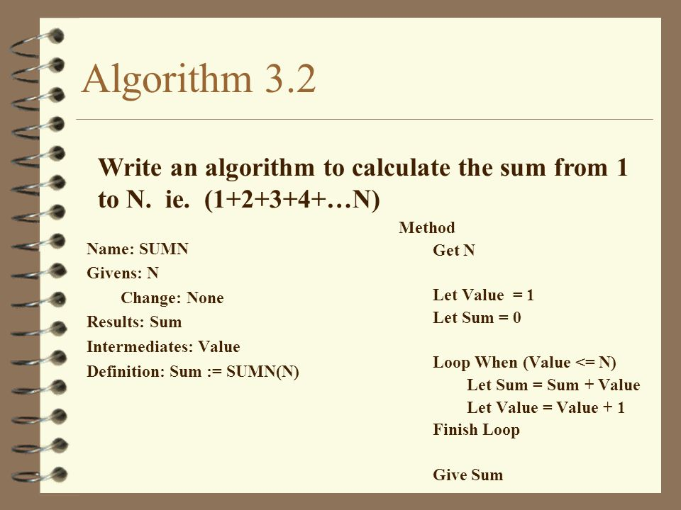 Algorithm 3.2 Write an algorithm to calculate the sum from 1 to N. ie. (1+2+3+4+…N) Name: SUMN. Givens: N.