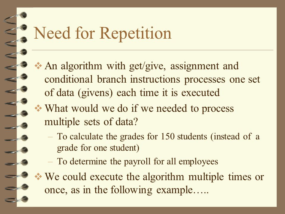 Need for Repetition