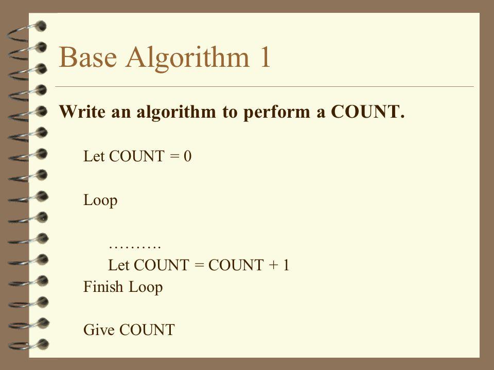 Base Algorithm 1 Write an algorithm to perform a COUNT. Let COUNT = 0