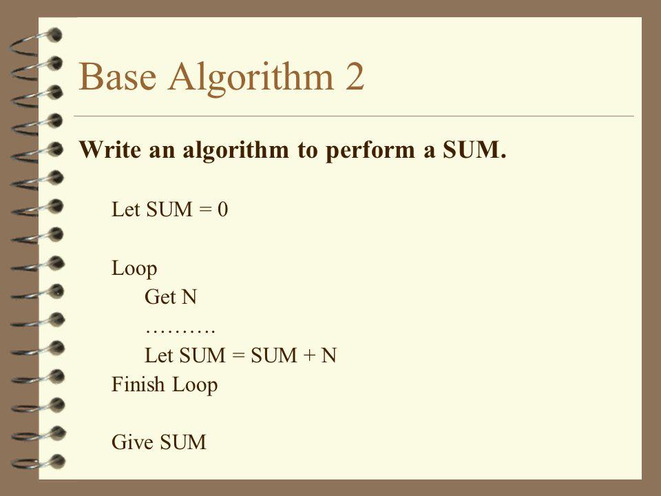 Base Algorithm 2 Write an algorithm to perform a SUM. Let SUM = 0 Loop