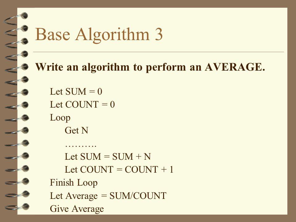 Base Algorithm 3 Write an algorithm to perform an AVERAGE. Let SUM = 0