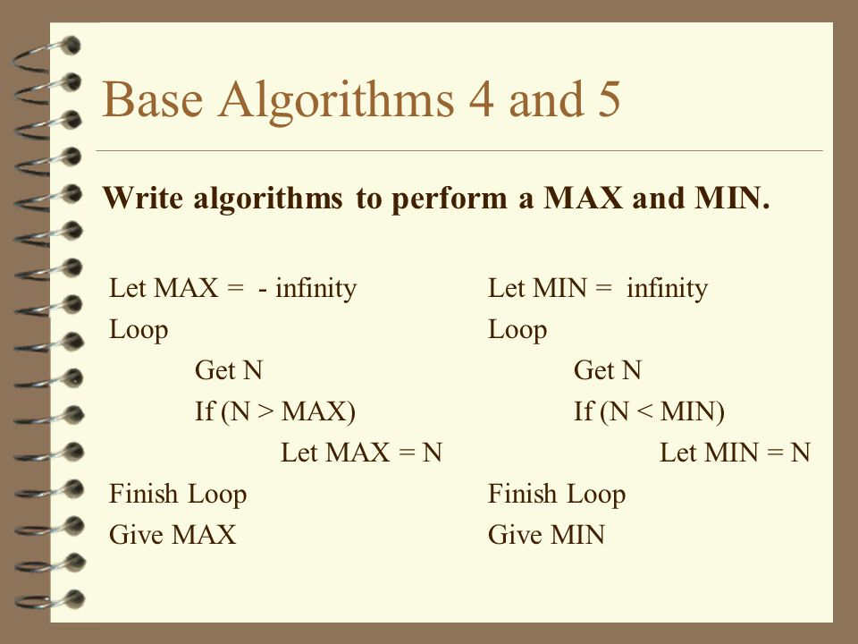 Base Algorithms 4 and 5 Write algorithms to perform a MAX and MIN.