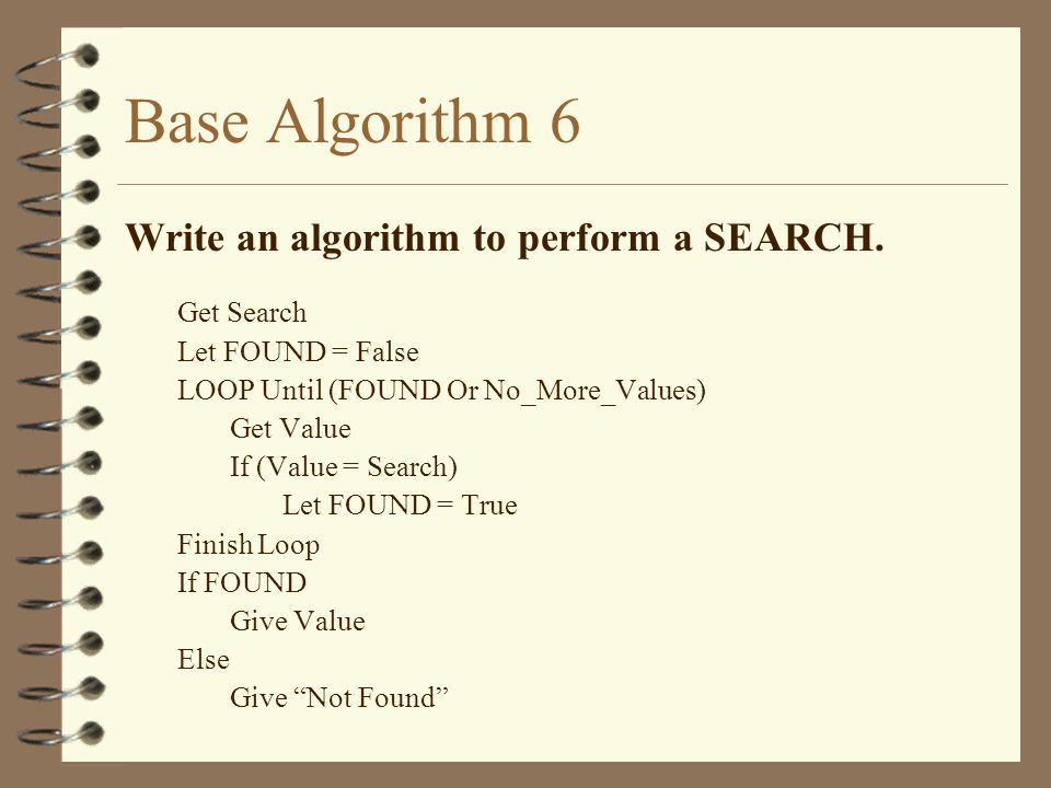Base Algorithm 6 Write an algorithm to perform a SEARCH. Get Search
