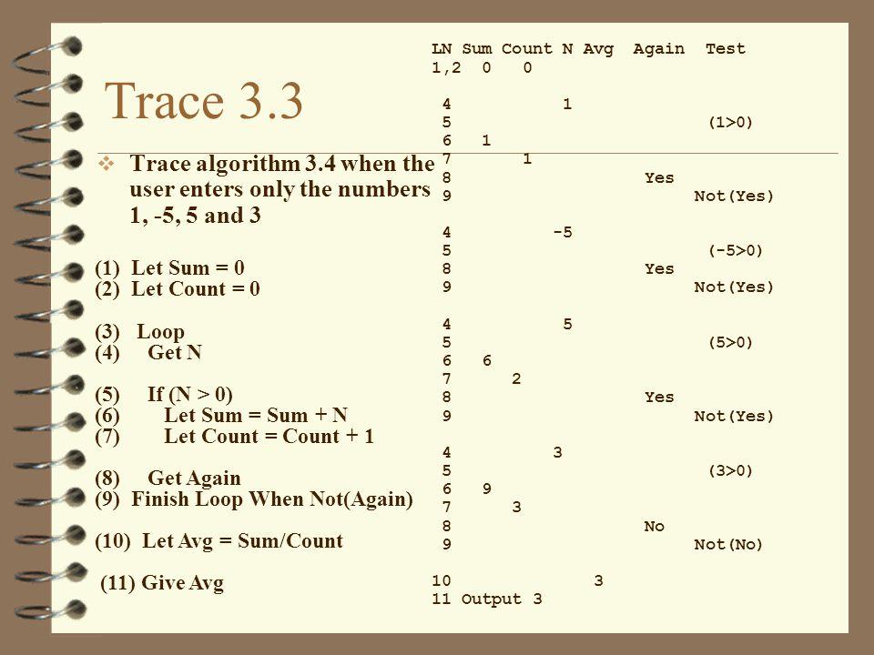 Trace 3.3 LN Sum Count N Avg Again Test. 1,2 0 0. 4 1. 5 (1>0)