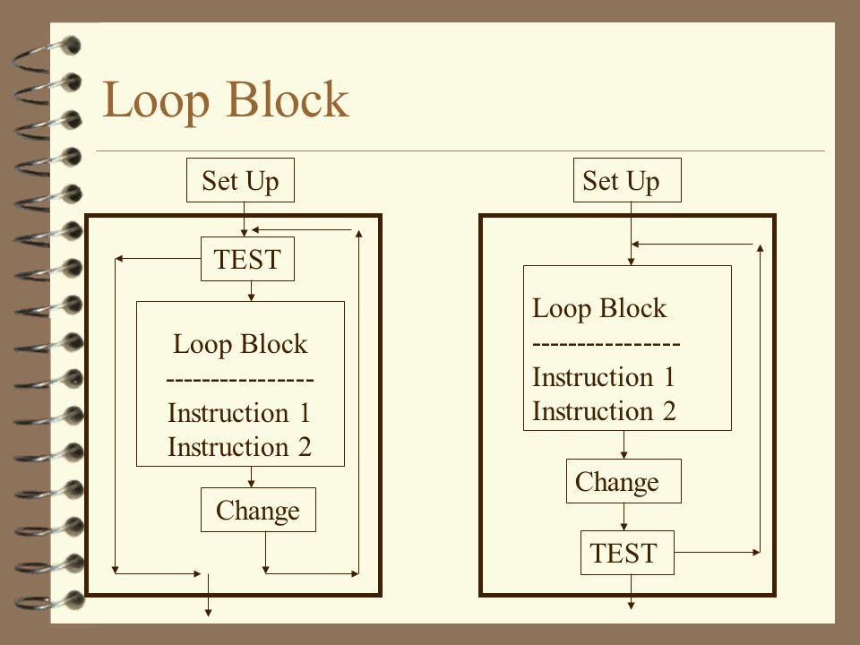 Loop Block Set Up Set Up TEST Loop Block ----------------
