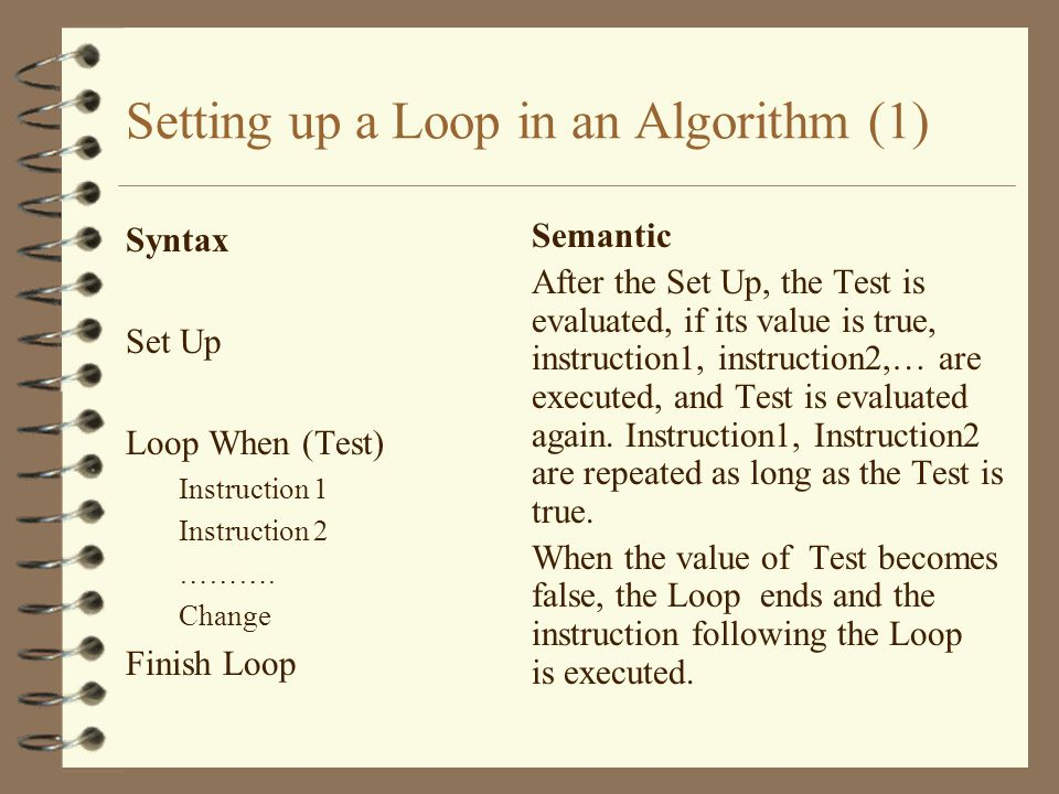 Setting up a Loop in an Algorithm (1)