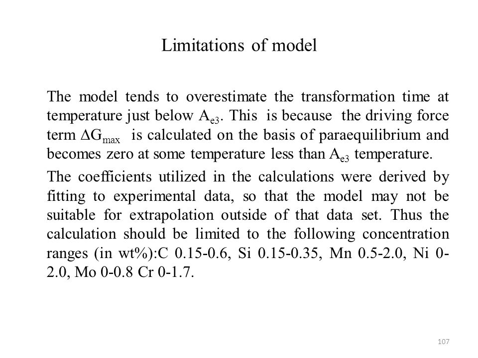 Limitations of model