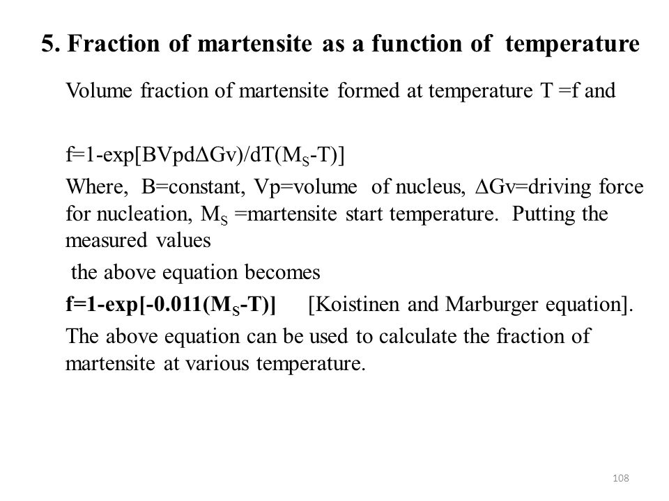 5. Fraction of martensite as a function of temperature