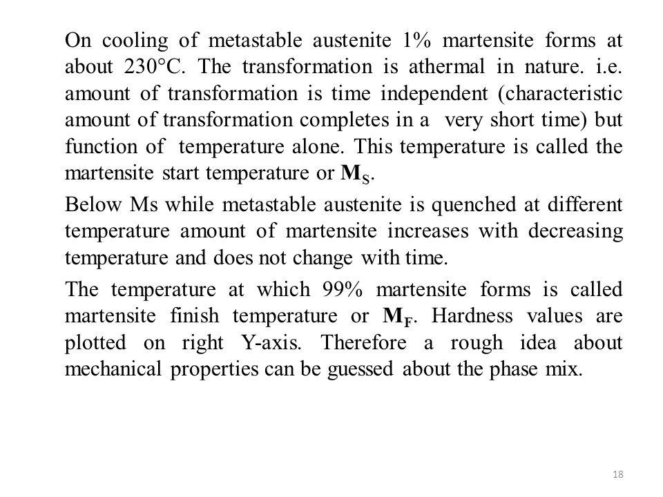 On cooling of metastable austenite 1% martensite forms at about 230°C
