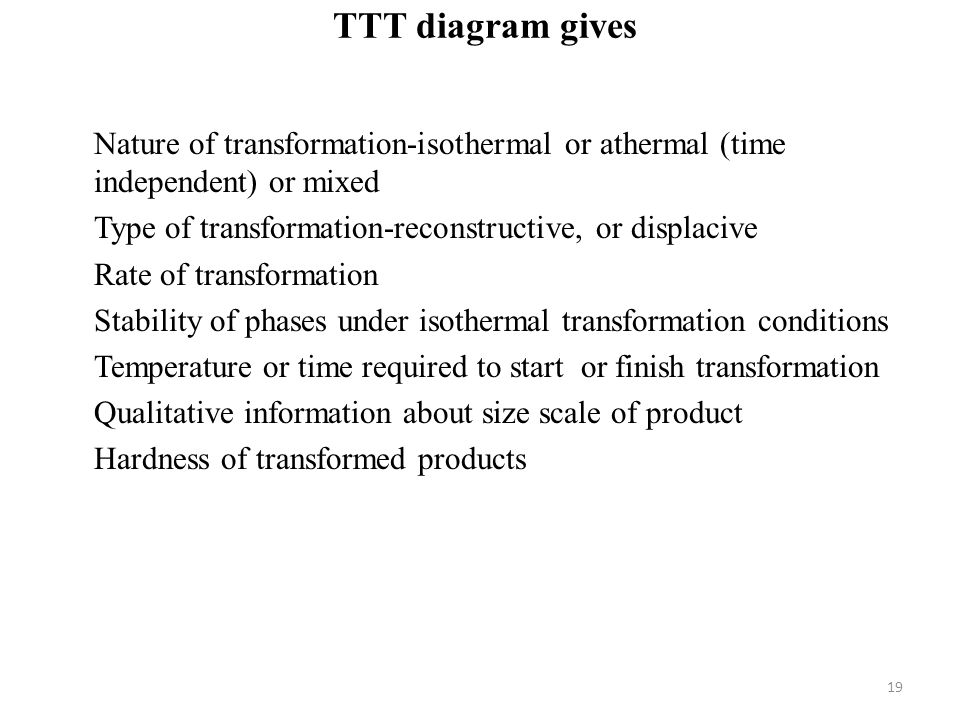 TTT diagram gives Nature of transformation-isothermal or athermal (time independent) or mixed. Type of transformation-reconstructive, or displacive.