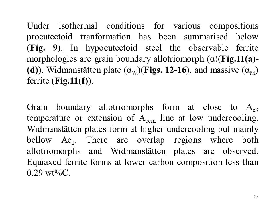 Under isothermal conditions for various compositions proeutectoid tranformation has been summarised below (Fig.