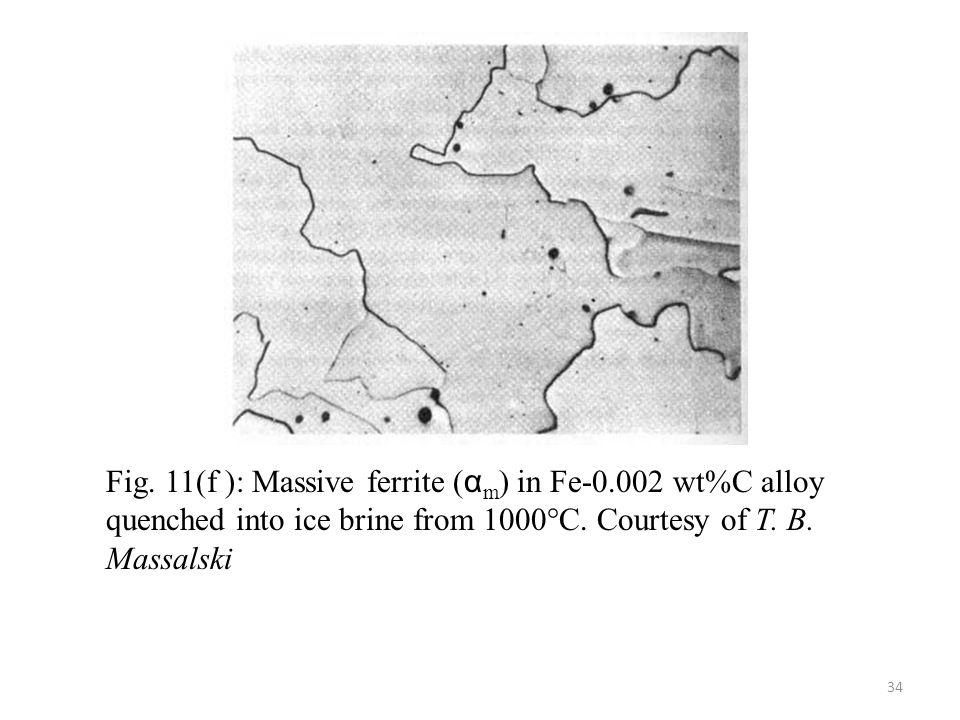 Fig. 11(f ): Massive ferrite (αm) in Fe-0