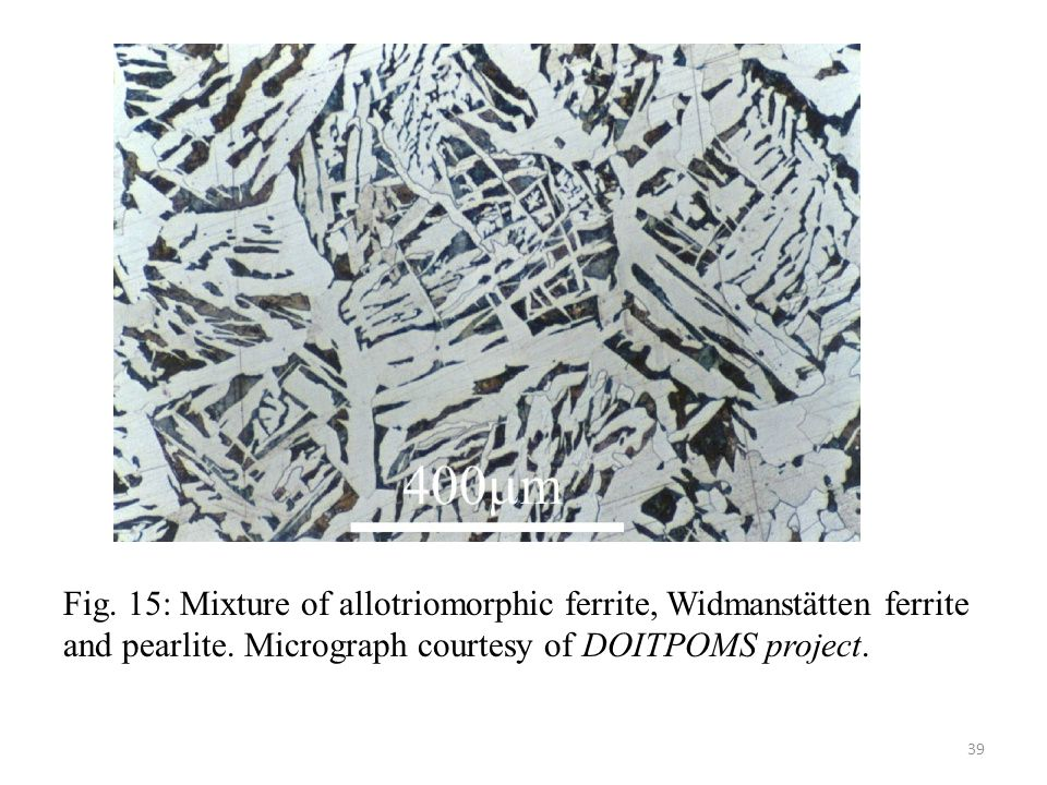 Fig. 15: Mixture of allotriomorphic ferrite, Widmanstätten ferrite and pearlite.