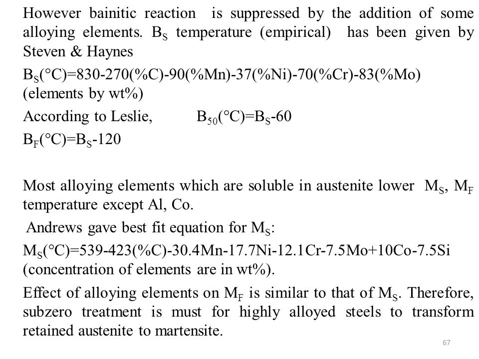 However bainitic reaction is suppressed by the addition of some alloying elements. BS temperature (empirical) has been given by Steven & Haynes