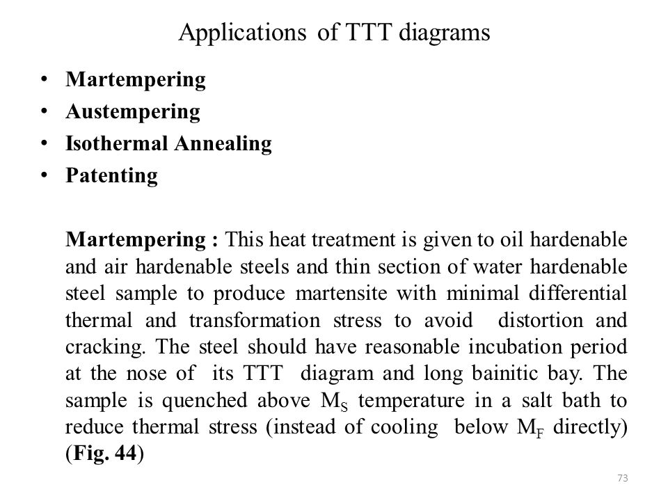 Applications of TTT diagrams