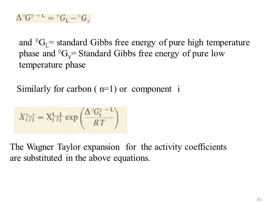 and 0GL= standard Gibbs free energy of pure high temperature phase and 0Gγ= Standard Gibbs free energy of pure low temperature phase