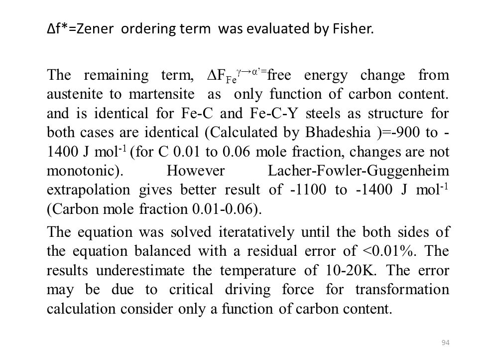∆f*=Zener ordering term was evaluated by Fisher.