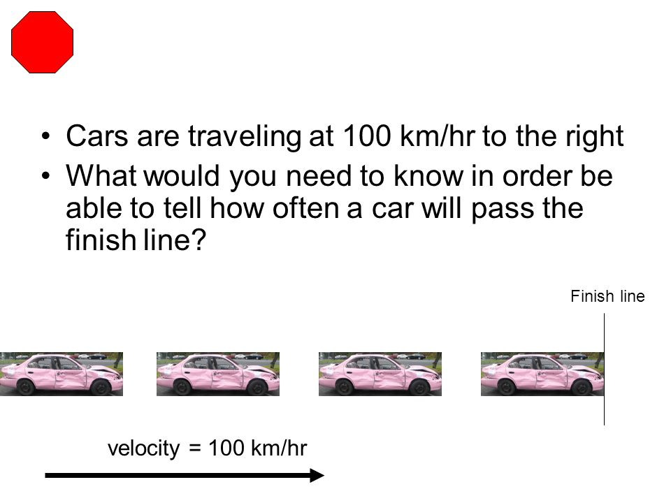 Cars are traveling at 100 km/hr to the right