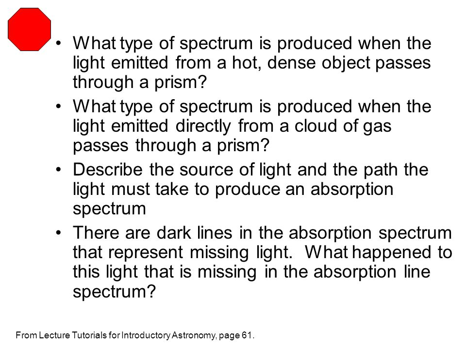What type of spectrum is produced when the light emitted from a hot, dense object passes through a prism