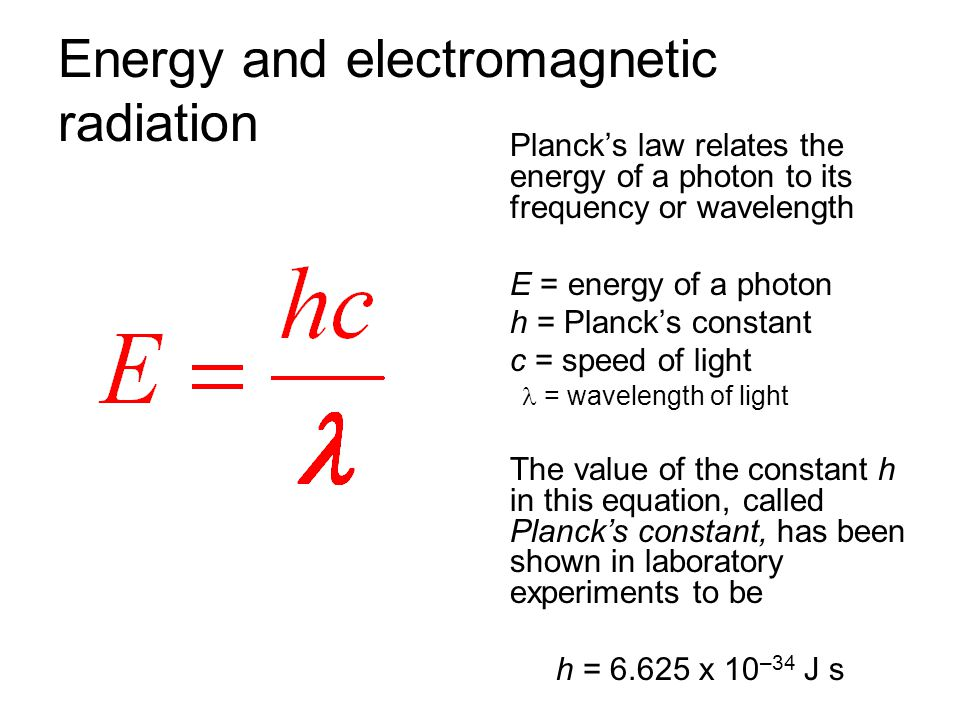 Energy and electromagnetic radiation