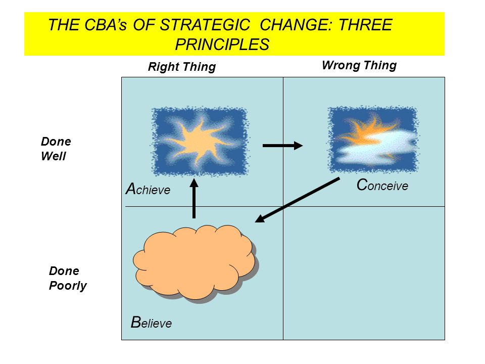 THE CBA's OF STRATEGIC CHANGE: THREE PRINCIPLES