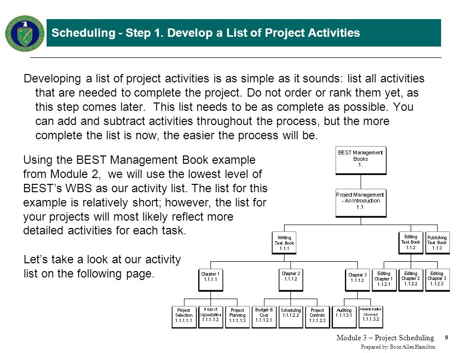 Scheduling – Step 1. Develop a List of Project Activities