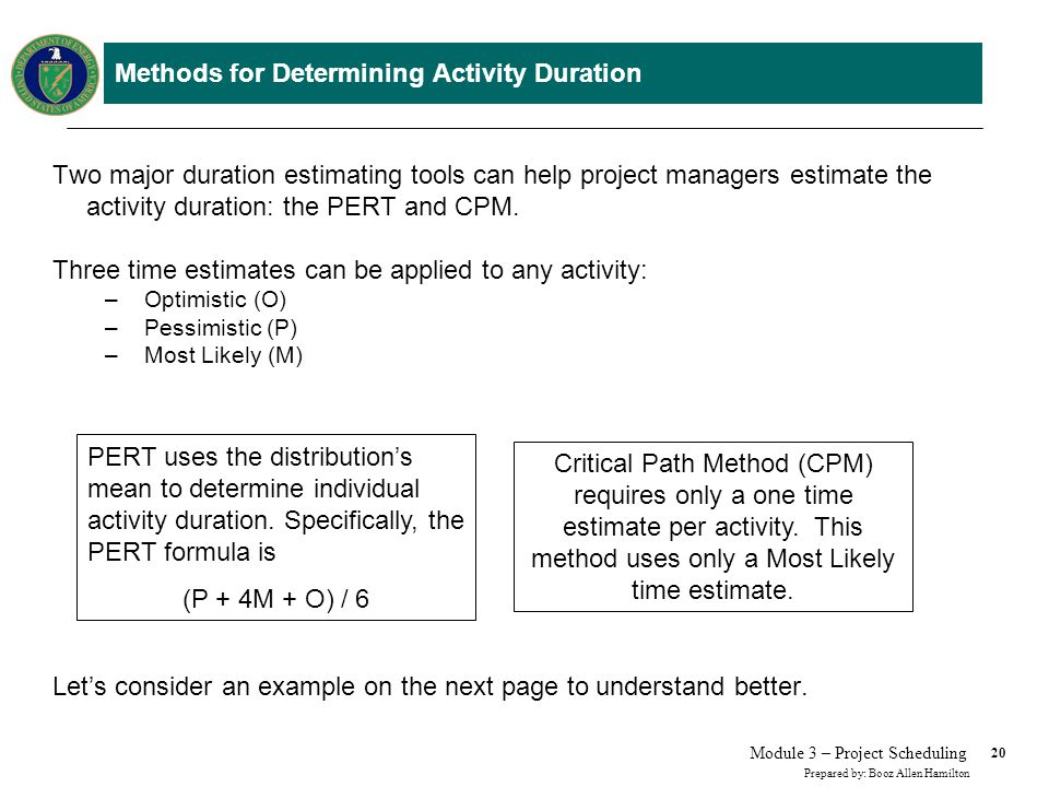 Methods for Determining Activity Duration: an Example