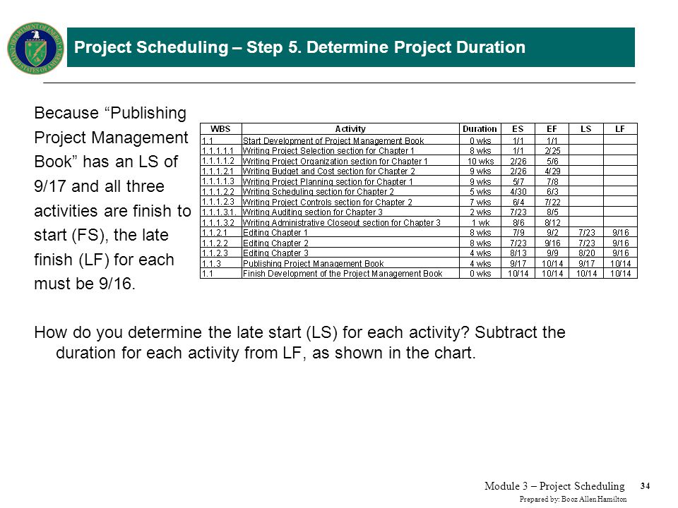 Project Scheduling – Step 5. Determine Project Duration