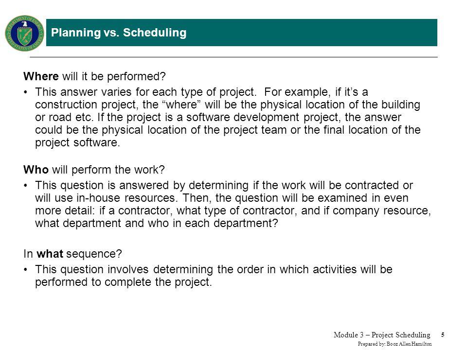 Planning vs. Scheduling