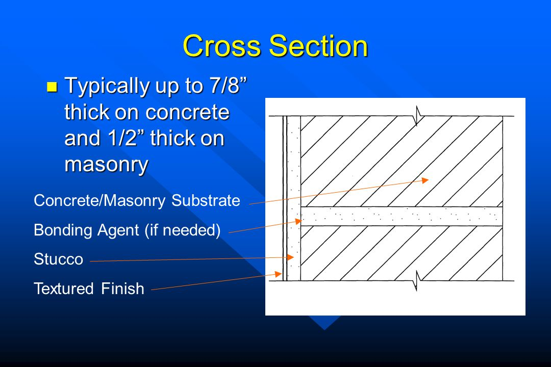 Cross Section Typically up to 7/8 thick on concrete and 1/2 thick on masonry. Concrete/Masonry Substrate.