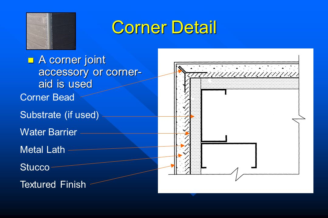 Corner Detail A corner joint accessory or corner-aid is used