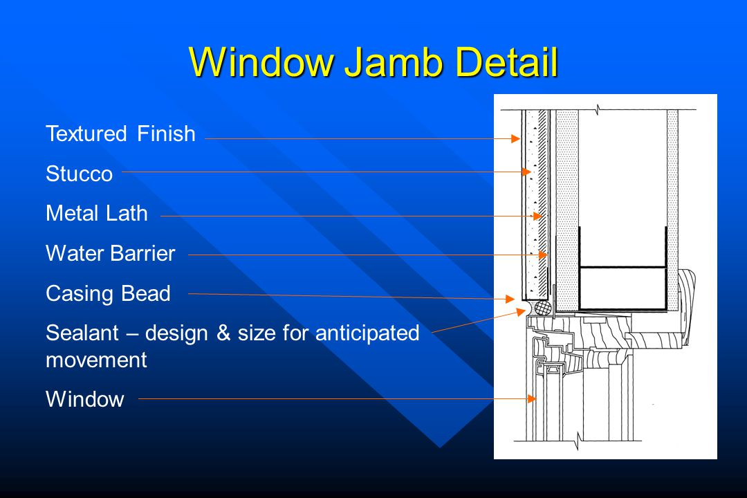 Window Jamb Detail Textured Finish Stucco Metal Lath Water Barrier