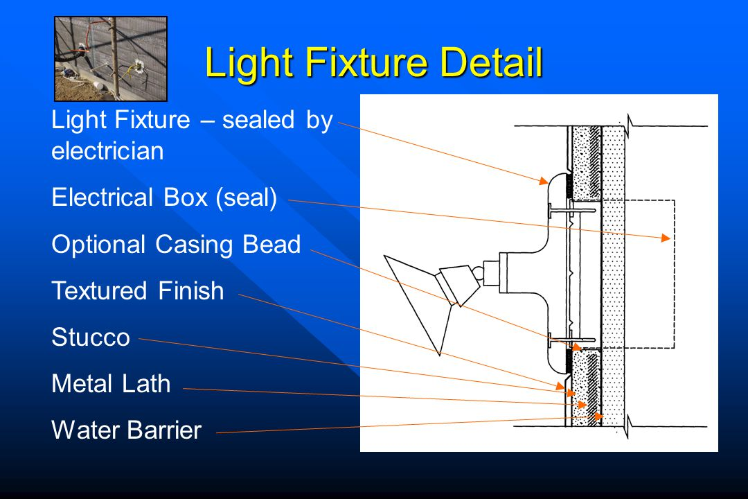 Light Fixture Detail Light Fixture – sealed by electrician