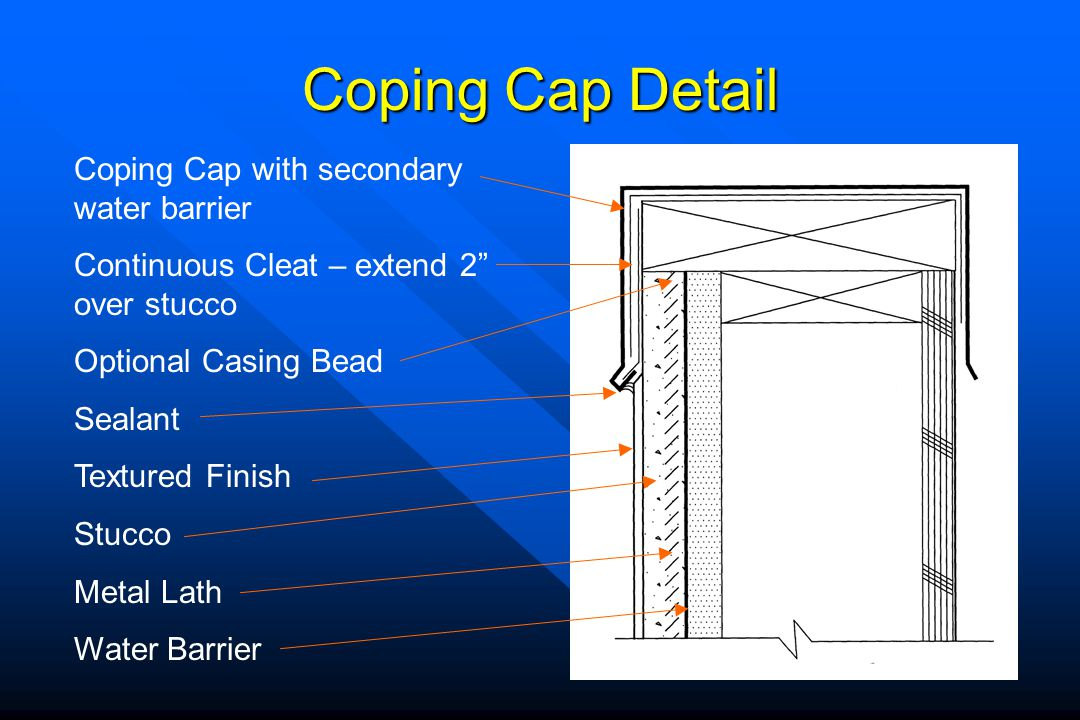 Coping Cap Detail Coping Cap with secondary water barrier