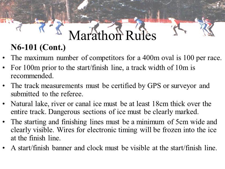 Marathon Rules N6-101 (Cont.)